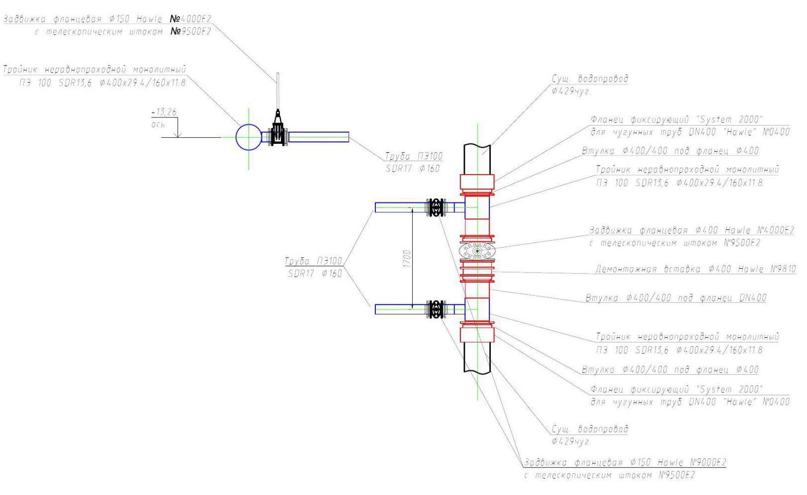 Деталировка узла сети водоснабжения